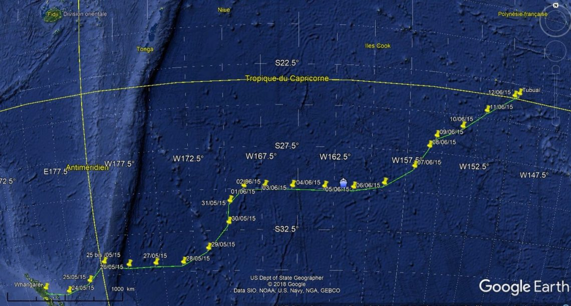Navigation de Whangareï à Tubuaï