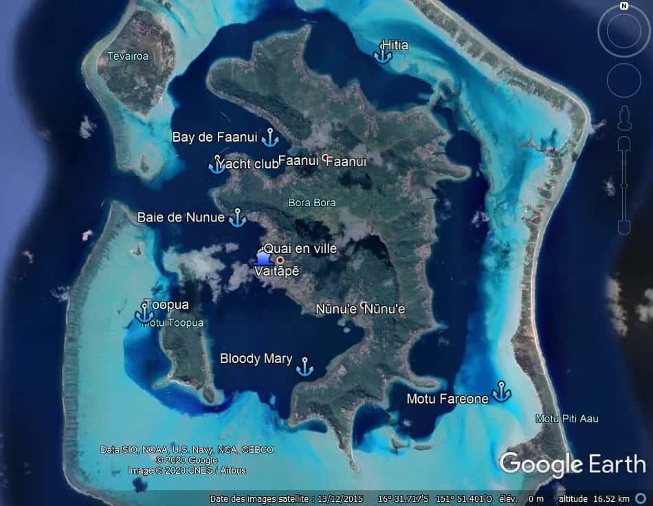 Mouillages à Bora Bora