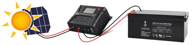 Brancher un panneau solaire au regulateur puis a la batterie