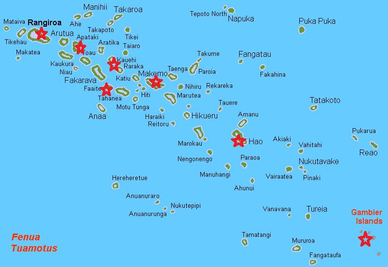 Carte des îles a visiter absolument dans les Tuamotu
